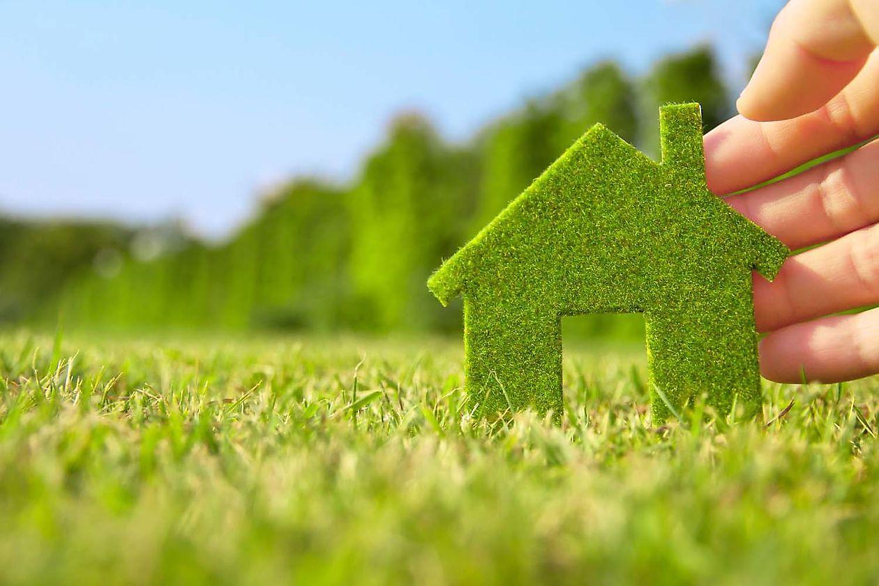 foto van groen huisje van gras